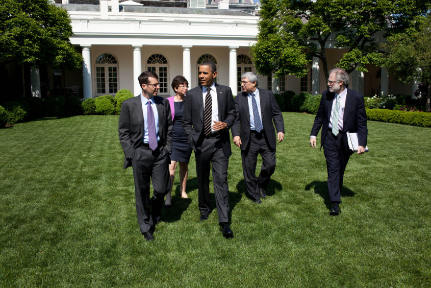 President Barack Obama walks through the Rose Garden of the White House for an outdoor meeting with senior staff, May 9, 2011. Walking with the President, from left, are: Senior Advisor David Plouffe, Senior Advisor Valerie Jarrett, Counselor to the President Pete Rouse, and Counsel to the President Bob Bauer. (Official White House Photo by Pete Souza)  This official White House photograph is being made available only for publication by news organizations and/or for personal use printing by the subject(s) of the photograph. The photograph may not be manipulated in any way and may not be used in commercial or political materials, advertisements, emails, products, promotions that in any way suggests approval or endorsement of the President, the First Family, or the White House.Ê (source: theobamadiary.com/)